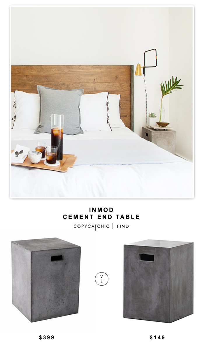 Inmod Castor End Table for $399 vs CB2 Cement Grey Side Table for $149 | Copy Cat Chic look for less budget design