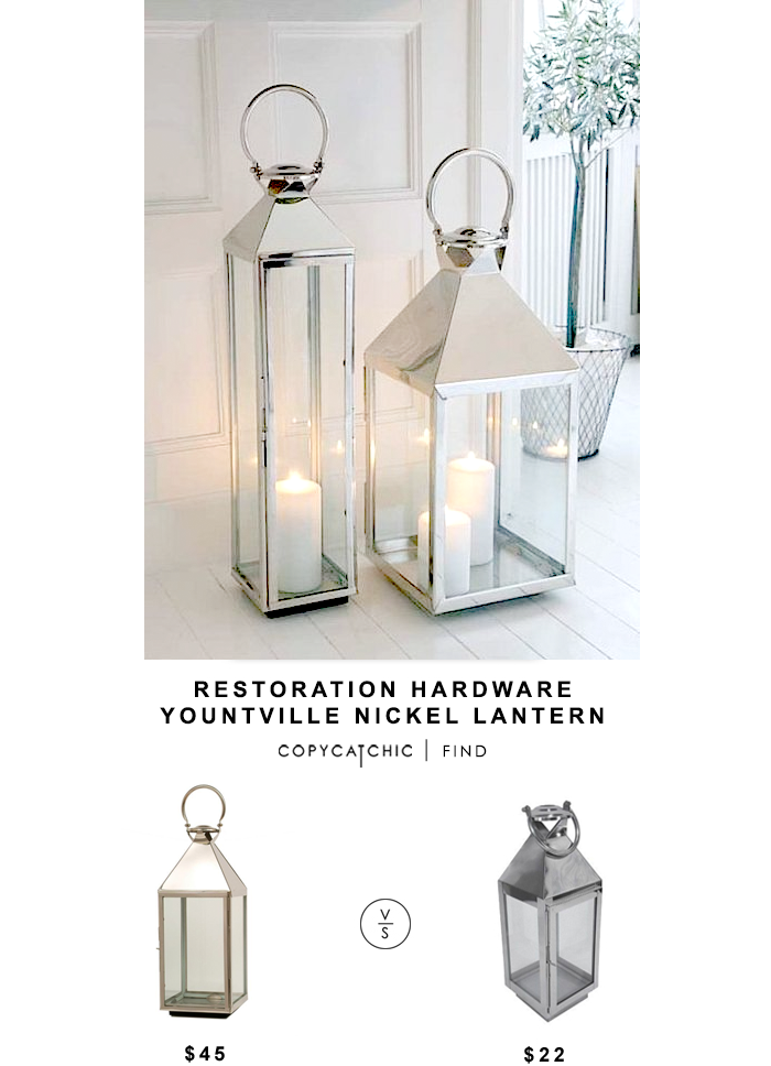 RESTORATION HARDWARE NICKEL LANTERN $45 vs TARGET STAINLESS STEEL LANTERN $22