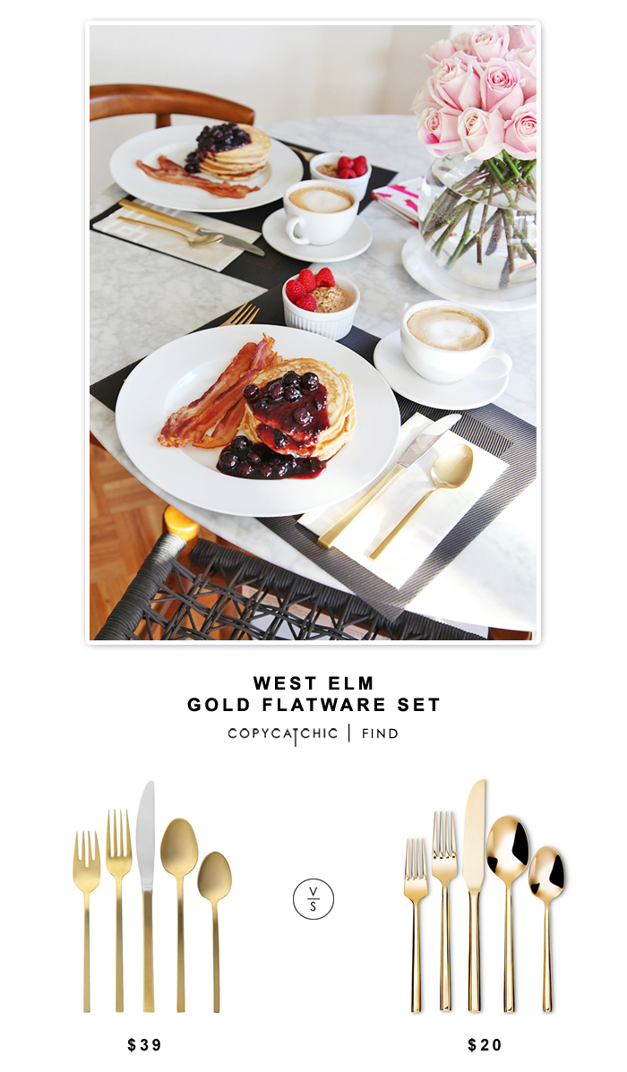 West Elm Gold Flatware Set (5 pieces) $39 vs Target Threshold Izon Flatware set (5 pieces) $20   Copy Cat Chic look for less budget home decor and design