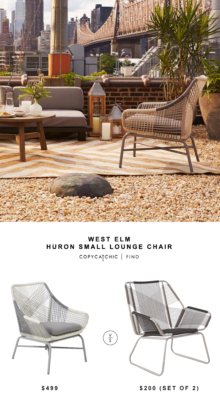West Elm Huron Large Lounge Chair $499 vs Target Carag 3-Piece Sling Rope Chat Set - Threshold™ $200 | copy cat chic look for less