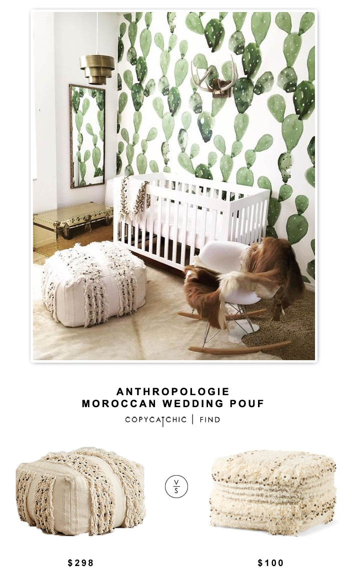 Anthropologie Moroccan Wedding Pouf for $298 vs Made in India Wool Floor Pillow for $100 | Copy Cat Chic look for less budget home decor