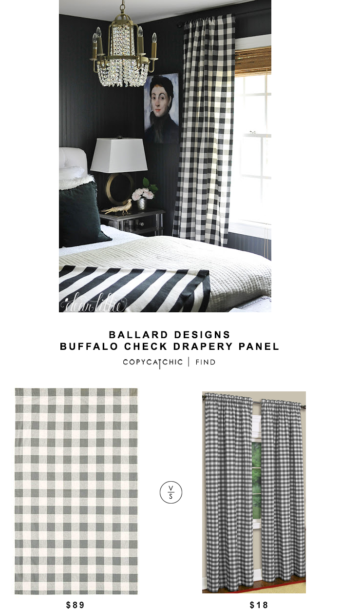 Ballard Designs Buffalo Check Drapery Panel for $89 vs Hayneedle Achim Buffalo Check Curtain Panel for $18 | Copy Cat Chic Look for Less