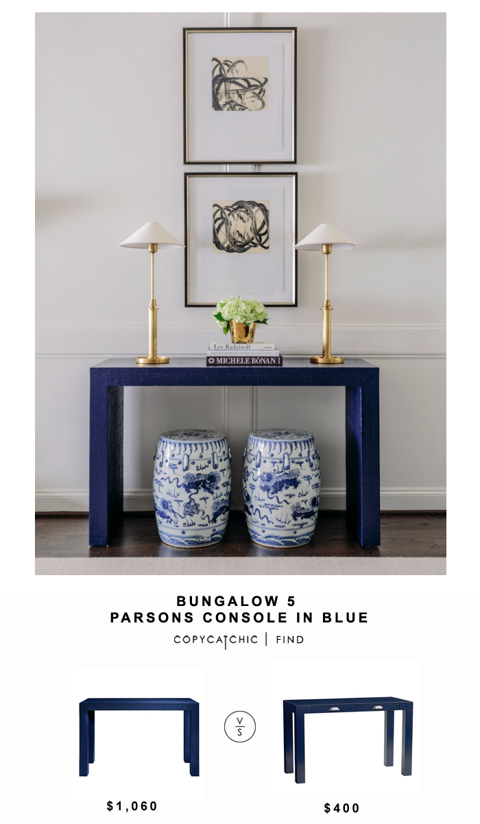 Bungalow 5 Parsons Console in Blue for $1,060 vs Pottery Barn Kids Parsons Desk in Navy for $400 | Copy Cat Chic look for less budget home decor