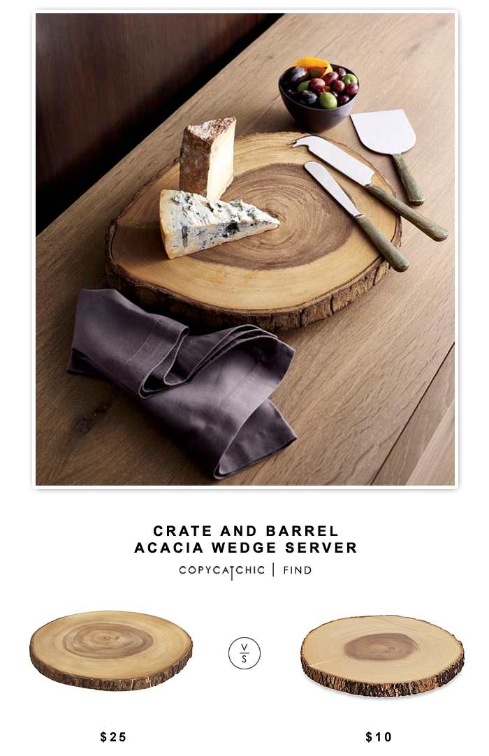 Crate and Barrel Acacia Wedge Server for $25 vs B. Smith Small Acacia Wood Server for $10 | Copy Cat Chic look for less budget home decor