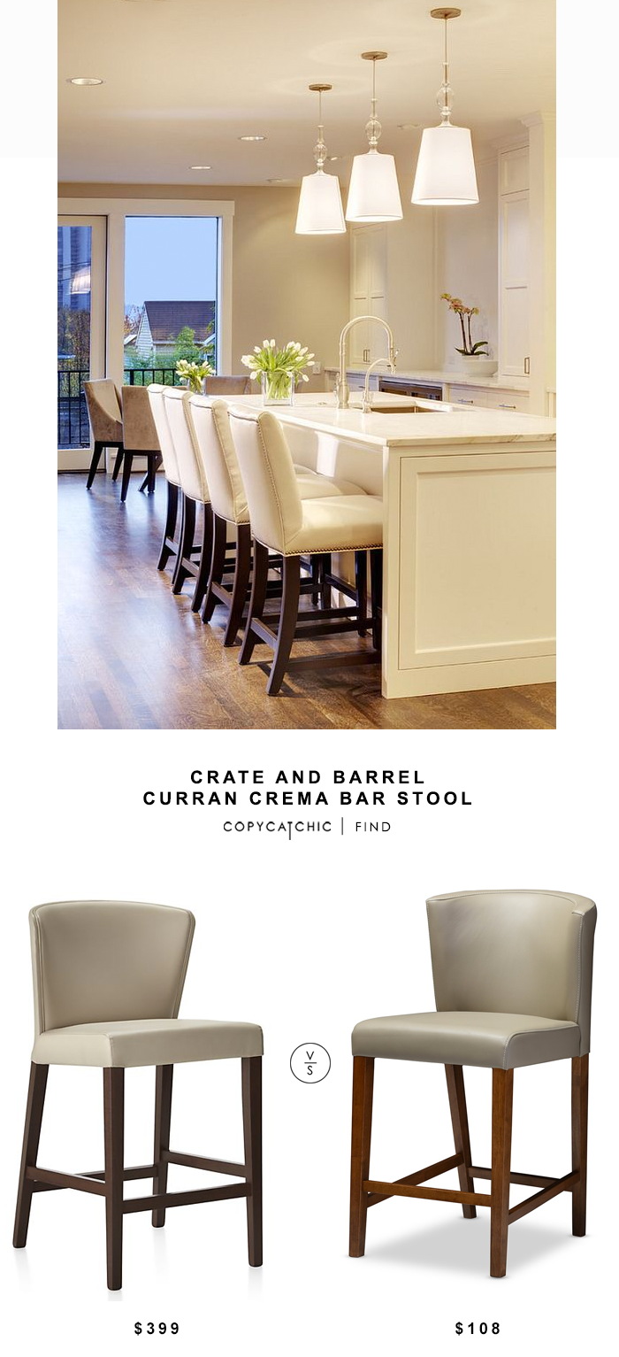 Crate & Barrel Curran Crema Bar Stool $399 vs Overstock Baxton Studio Olivia Mid-century Scandinavian Style Dark Walnut Wood Pub Stool $216 copy cat chic