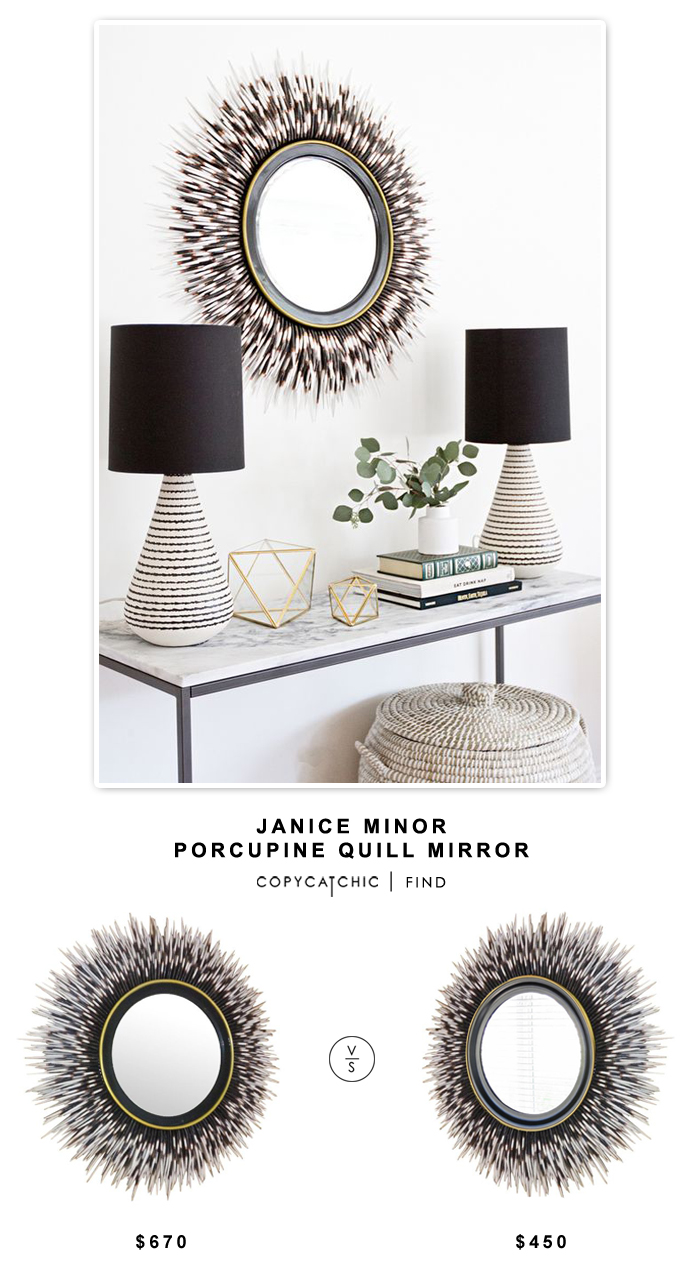 Horchow Janice Minor Porcupine Quill Mirror for $670 vs Applewood GA Porcupine Quill Mirror for $450 | Copy Cat Chic look for less budget home decor