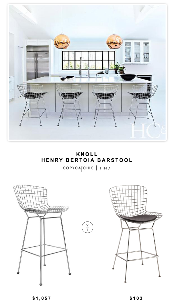Knoll Henry Bertoia Barstool for $1,057 vs Instyle Modern Bertoia Wire style counter Stool (set of 4) for $412 | Copy Cat Chic look for less budget decor