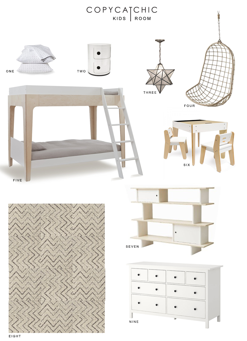 Inspiration for a white and neutral girl's and boy's shared bedroom | Copy Cat Chic design board for a shared kids room.