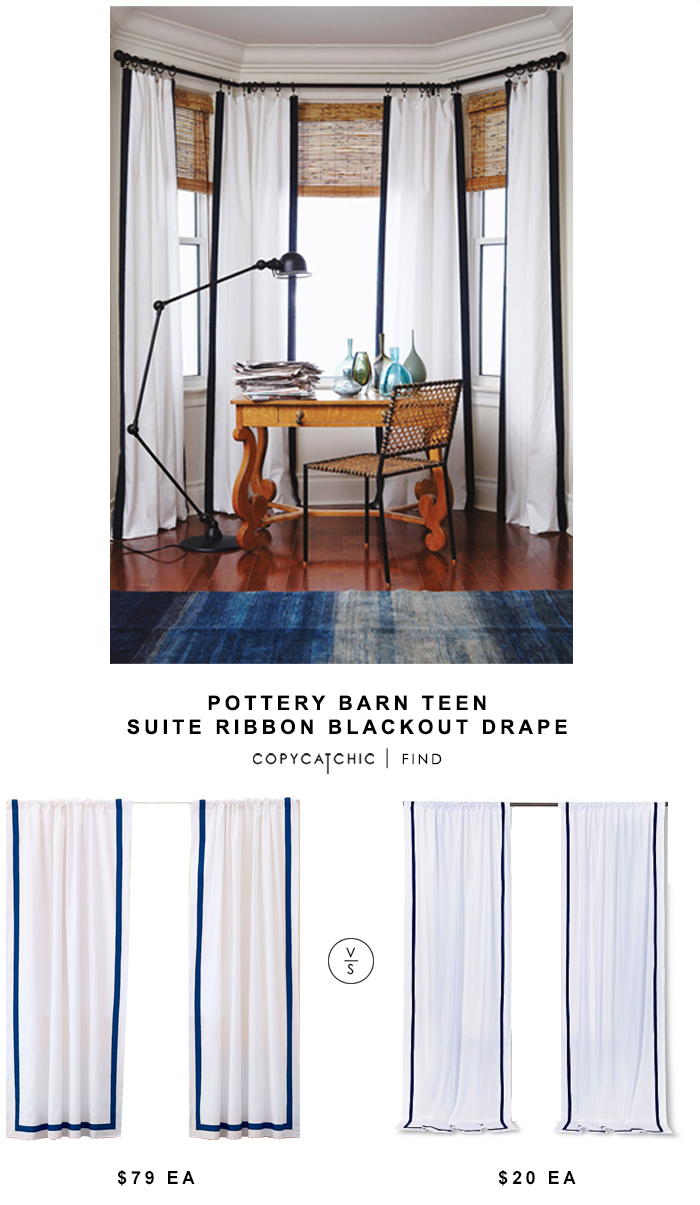 Pottery Barn Teen Suite Ribbon Blackout Drape for $79 each on sale vs Target Circo Ribbon Curtain Panel for $20 ea | Copy Cat Chic look for less home decor