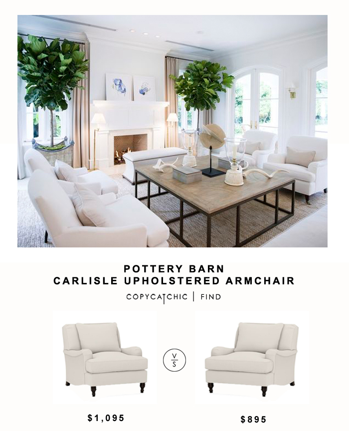 Pottery Barn Carlisle Upholstered Armchair for $1,095 vs Living Spaces Abigail Arm Chair $895 | Copy Cat Chic Look for Less budget home decor