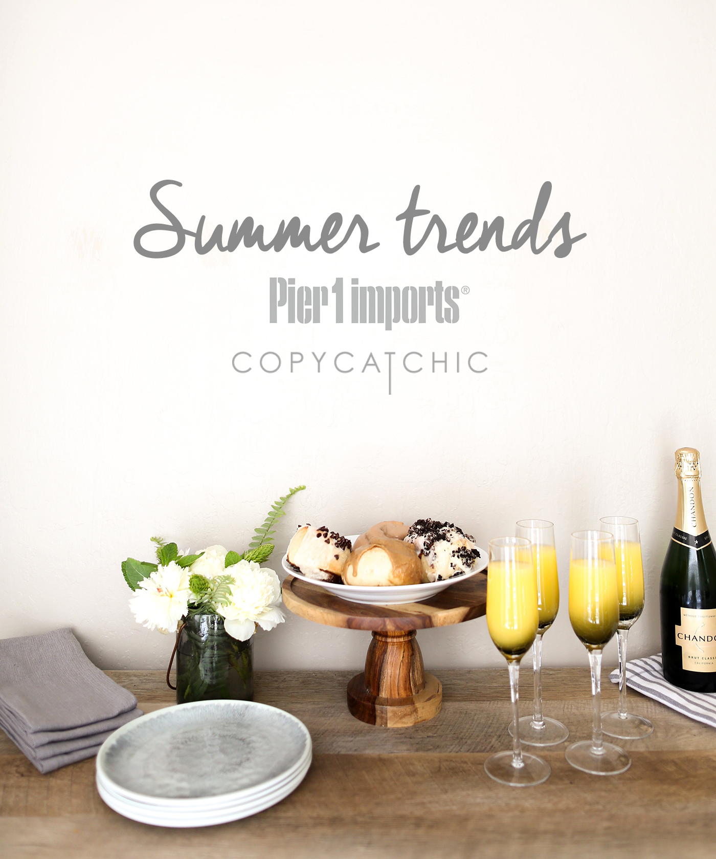 Copy Cat Chic's favorite home decor trends for summer from Pier 1 Imports? Grays, rich wood and warm, creamy neutrals. Light tones with lots of texture.