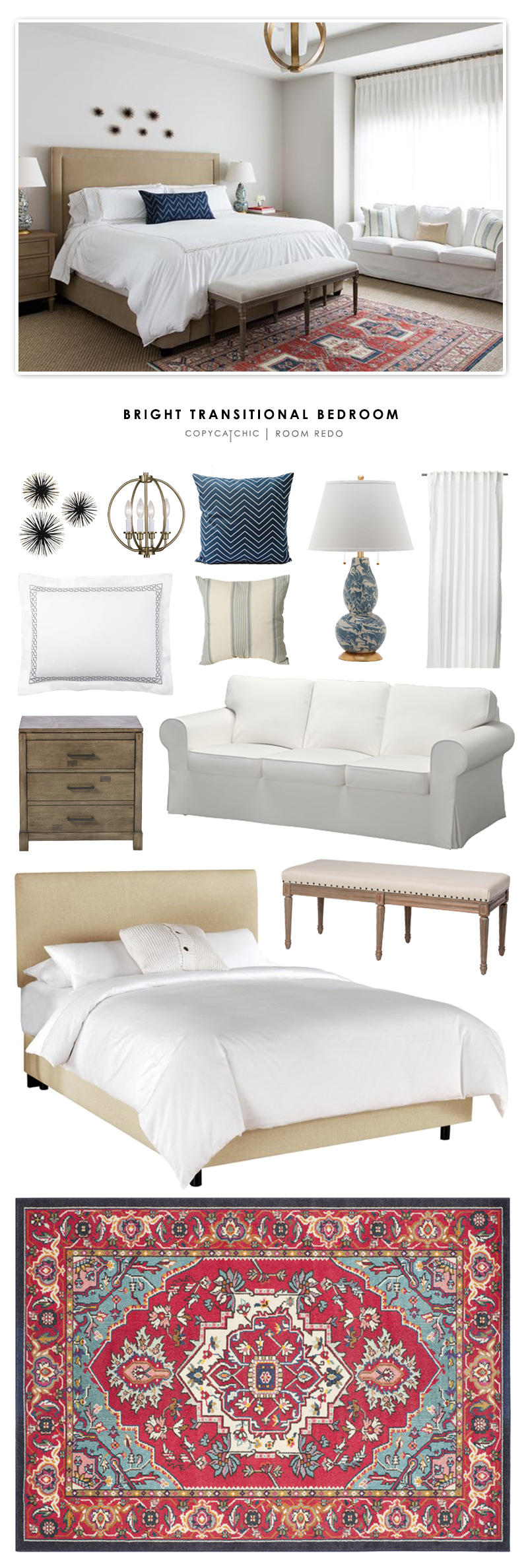 Copy cat chic room redo bright transitional bedroom How to redo a bedroom cheap