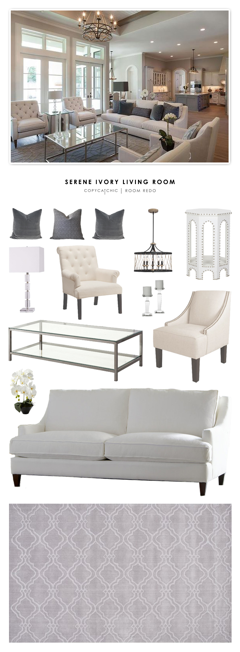 copy cat chic room redo serene ivory living room copy cat chic bloglovin. Black Bedroom Furniture Sets. Home Design Ideas