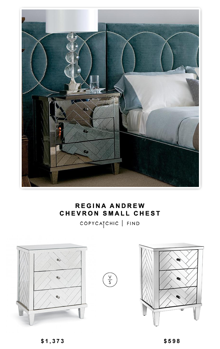 Interior Homescapes Regina Andrew Chevron Small Chest for $1373 vs Overstock Dimond Home Chalet 3-drawer Chest in Clear Mirror Finish $598 | Copy Cat Chic