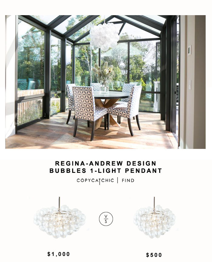 Regina Andrews Design Bubbles Light for $1,000 vs West Elm Droplet Chandelier for $500 | Copy Cat Chic look for less budget home decor cheap design