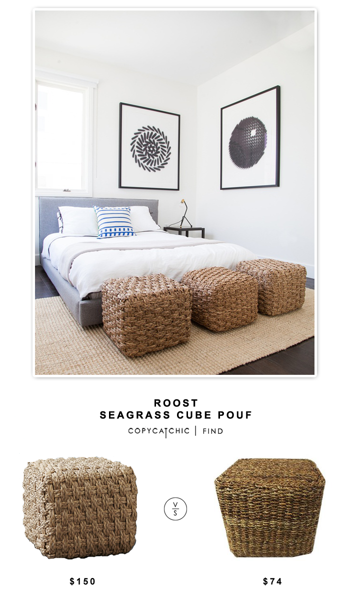 Roast Seagrass Cube Pouf for $150 vs Sears Entrada Cube Pouf $74 | Copy Cat Chic look for less budget home decor replica