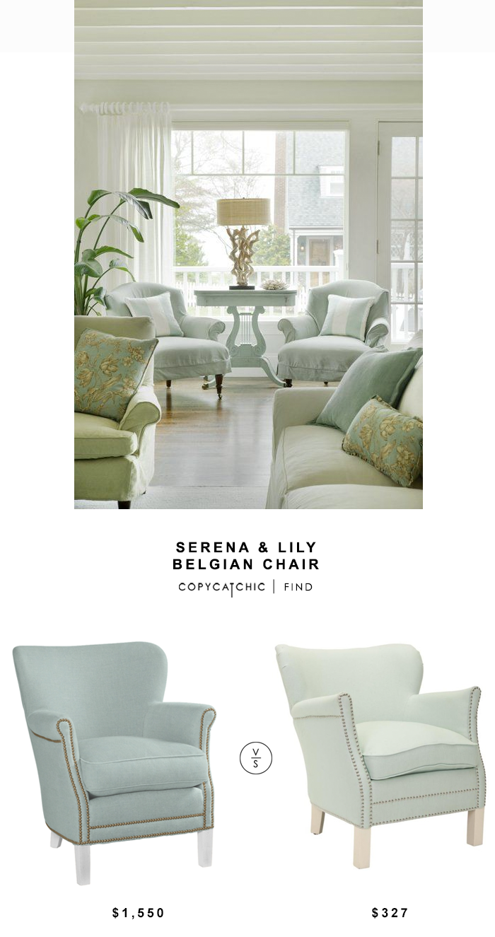 Serena & Lily Belgian Chair for $1550 vs Overstock Safavieh Posh Robin's egg Blue Arm Chair for $327 | Copy Cat Chic look for less budget home decor