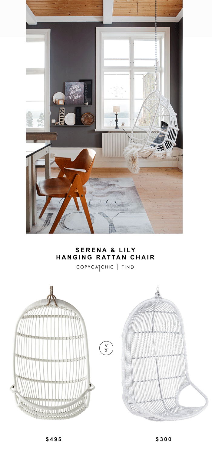 Serena & Lily Hanging Rattan Chair for $495 vs Pier 1 Imports Willow Swingasan $300 | Copy Cat Chic look for less budget home decor find