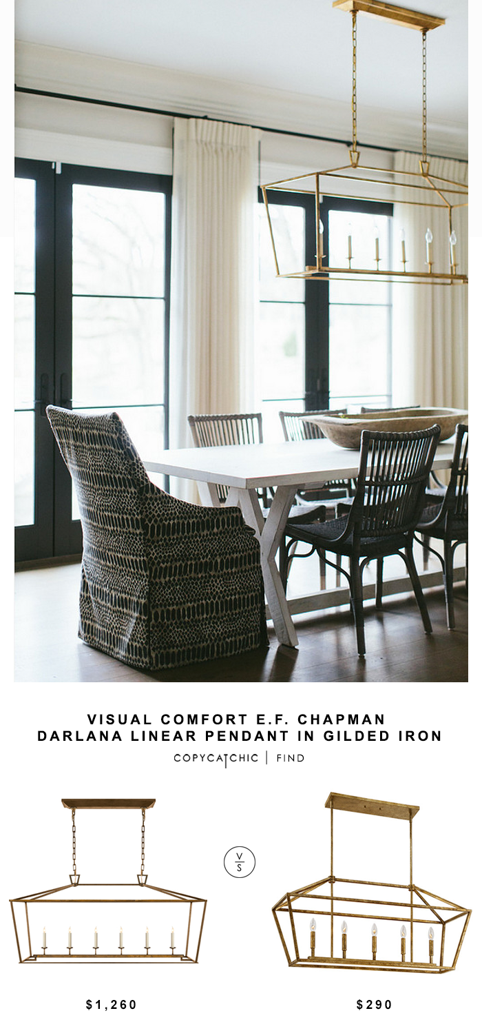 Visual Comfort E.F. Chapman Darlana Linear Pendant for $1260 vs Wayfair Millennium Lighting 5 Light Foyer Pendant | Copy Cat Chic look for less home decor