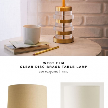 West Elm Clear Disc Brass Table Lamp