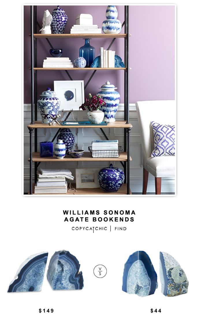 Williams Sonoma Agate Bookends for $149 vs West Elm Agate Bookends for $44 | Copy Cat Chic look for less home decor budget find