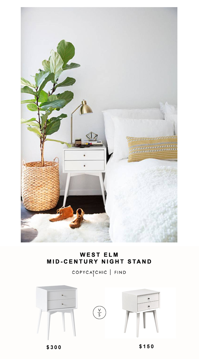 West Elm Mid-Century Nightstand for $300 vs Living Spaces Alton White Night Table for $150 | Copy Cat Chic look for less home decor for less