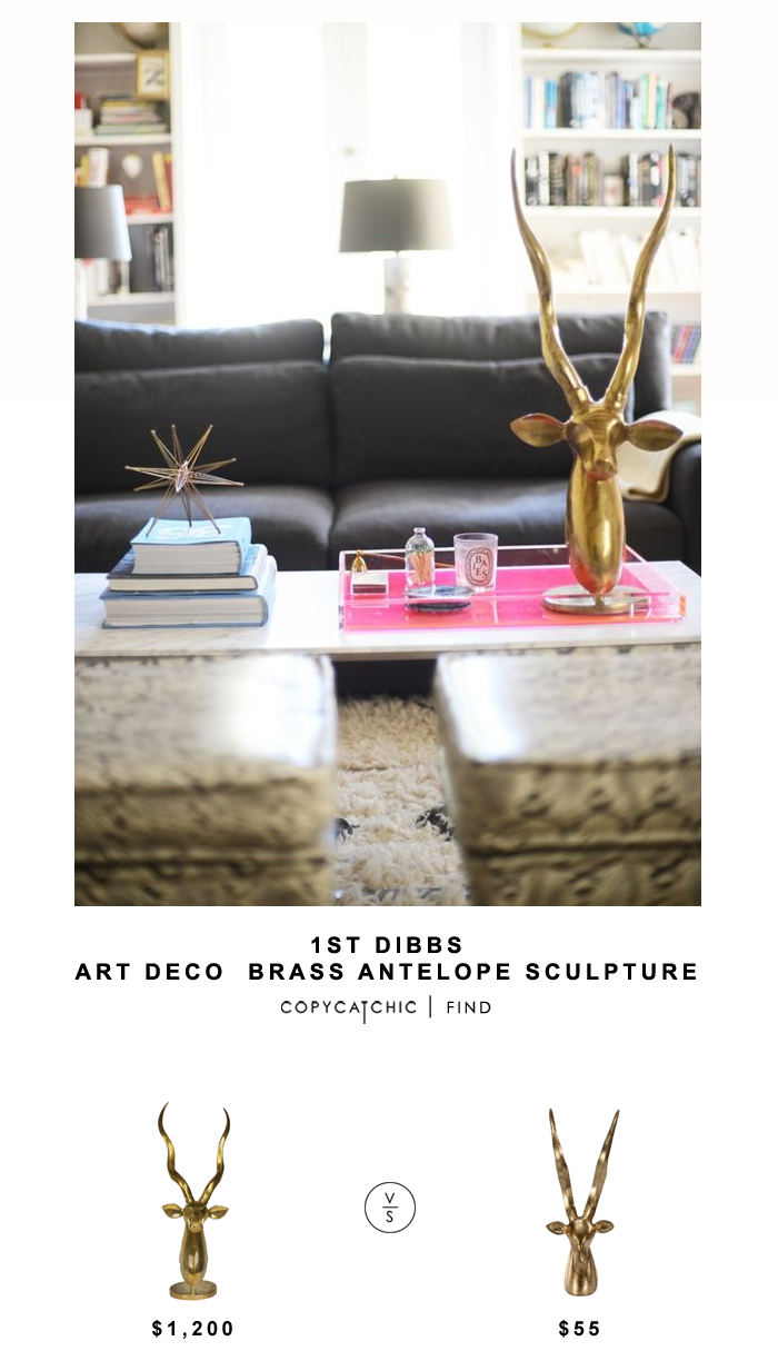 1st Dibbs Brass Antelope Sculpture for $1,200 vs Worlds Away Cyrus Antelope Sculpture for $55 | Copy Cat Chic look for less budget home decor and design