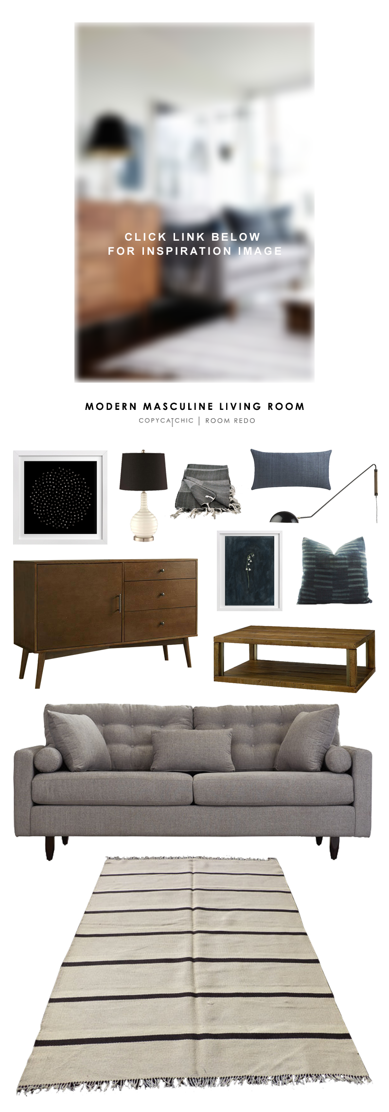 living room looks for less. brian paquette\u0027s cool, blue modern masculine living room is recreated for less by copy cat looks
