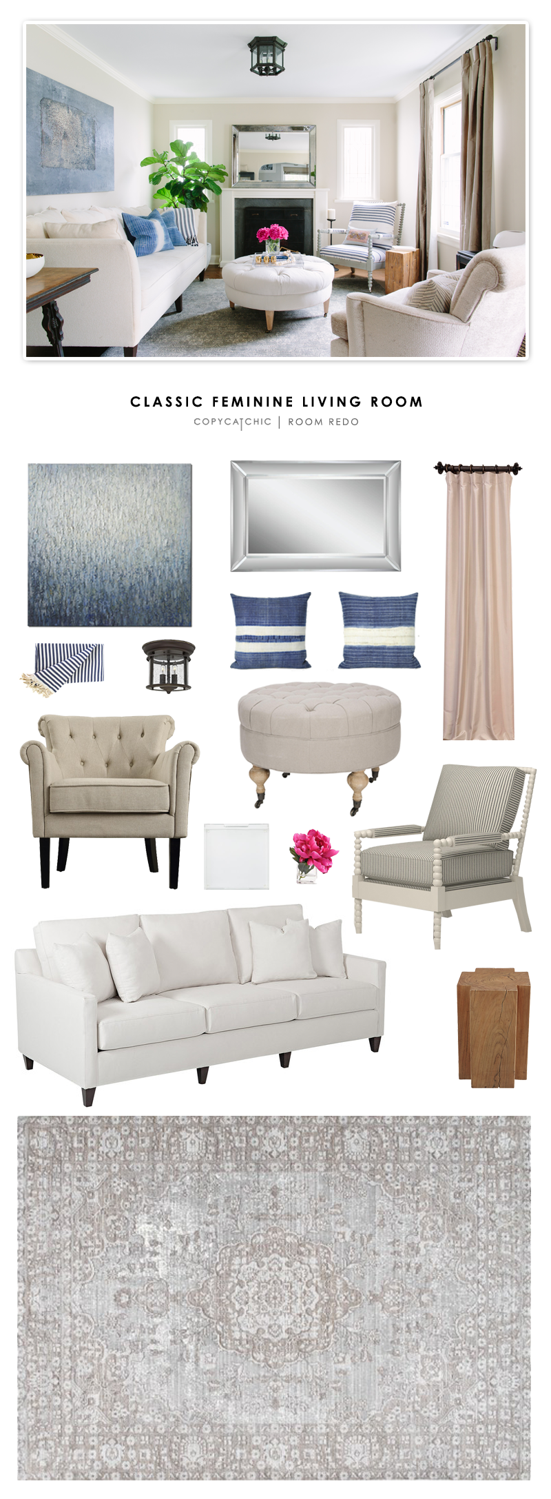 living room looks for less. a classic feminine living room designed by kate marker interiors and recreated for less copy looks