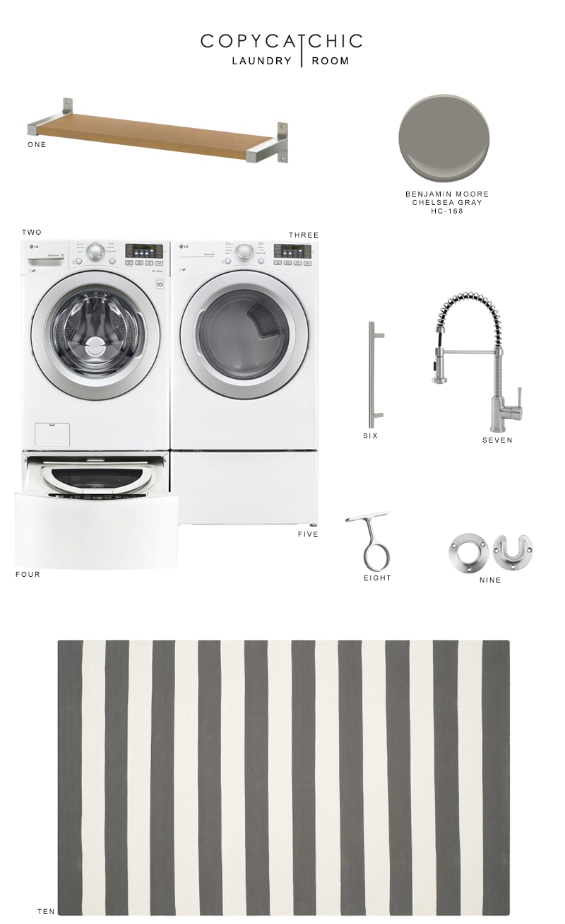 Giving the laundry room a quick update with brand new @LGUSA SideKick™ and washer. Designing a chic gray and white washroom on a budget.