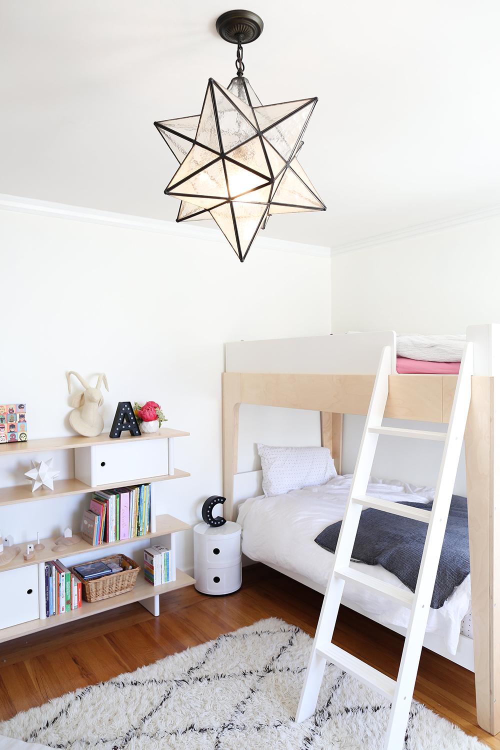 Fresh Copy Cat Chic Boy and Girl shared kid us bedroom using neutrals whites and lots