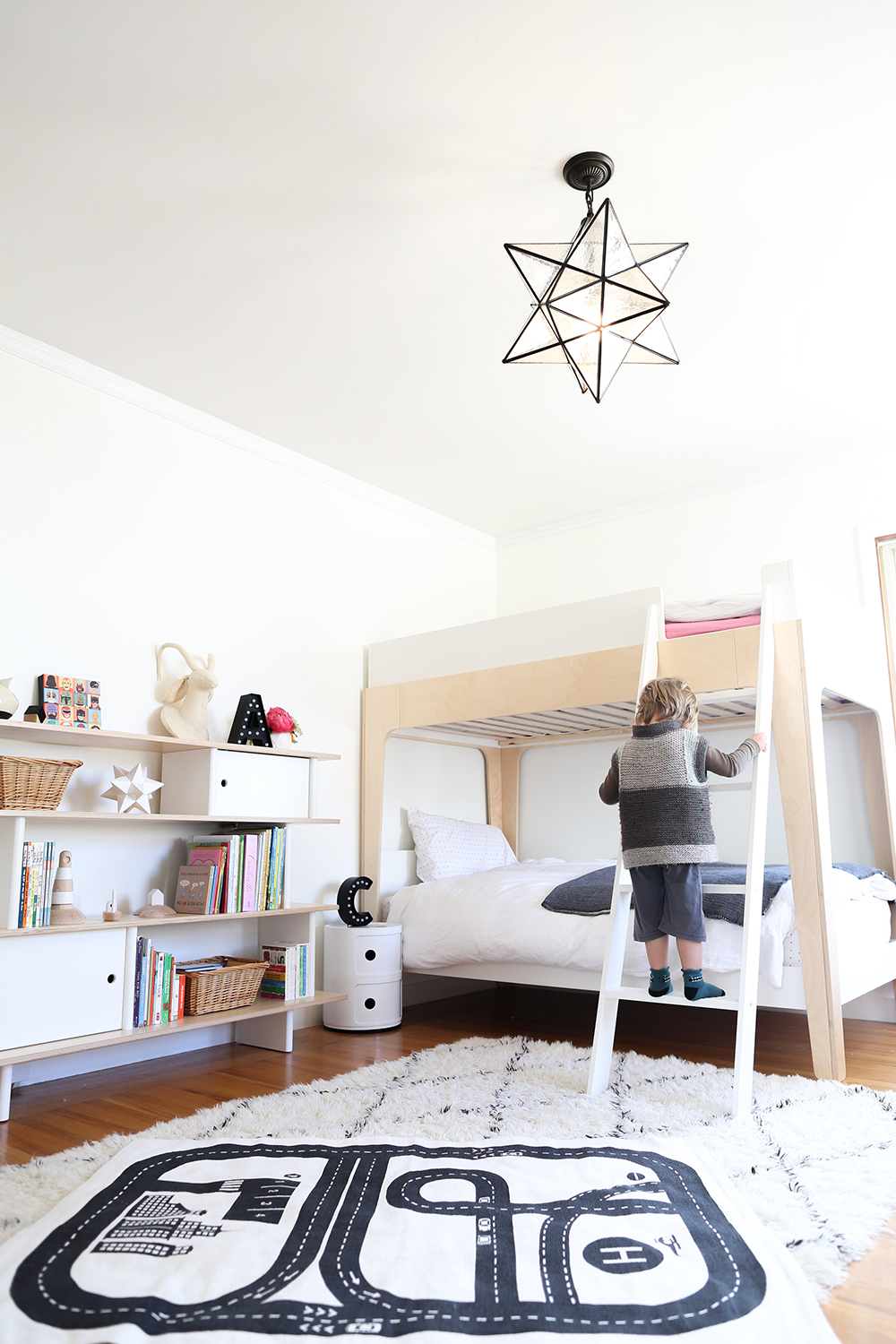 Copy Cat Chic - Boy and Girl shared kid's bedroom using neutrals, whites and lots of texture as a base for color and kid's furniture & accessories from Wayfair