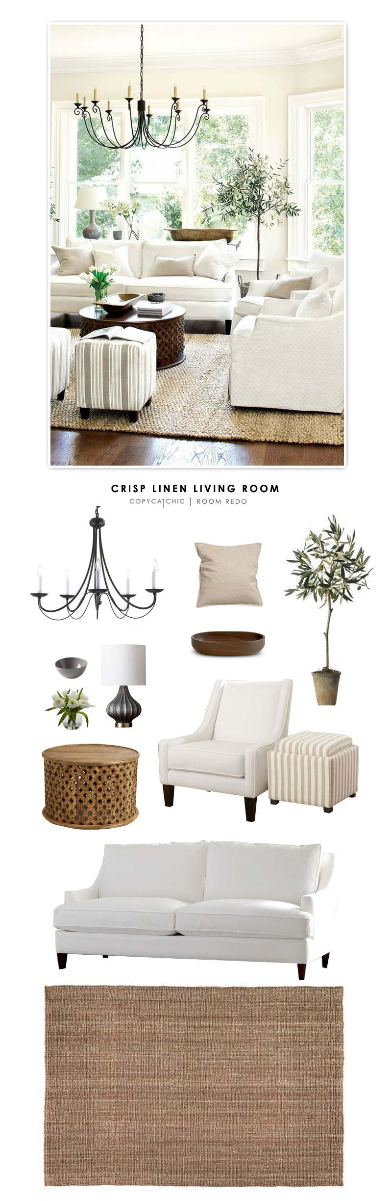 Copy Cat Chic Room Redo Crisp Linen Living Room copycatchic