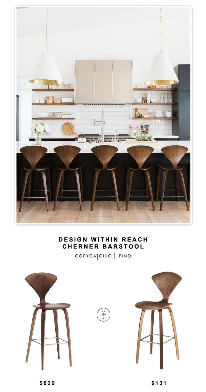 Design Within Reach Cherner Barstool for $829 vs Fine Mod Imports Wooden Barsttol for $131 | Copy Cat Chic look for less budget home decor design chic find