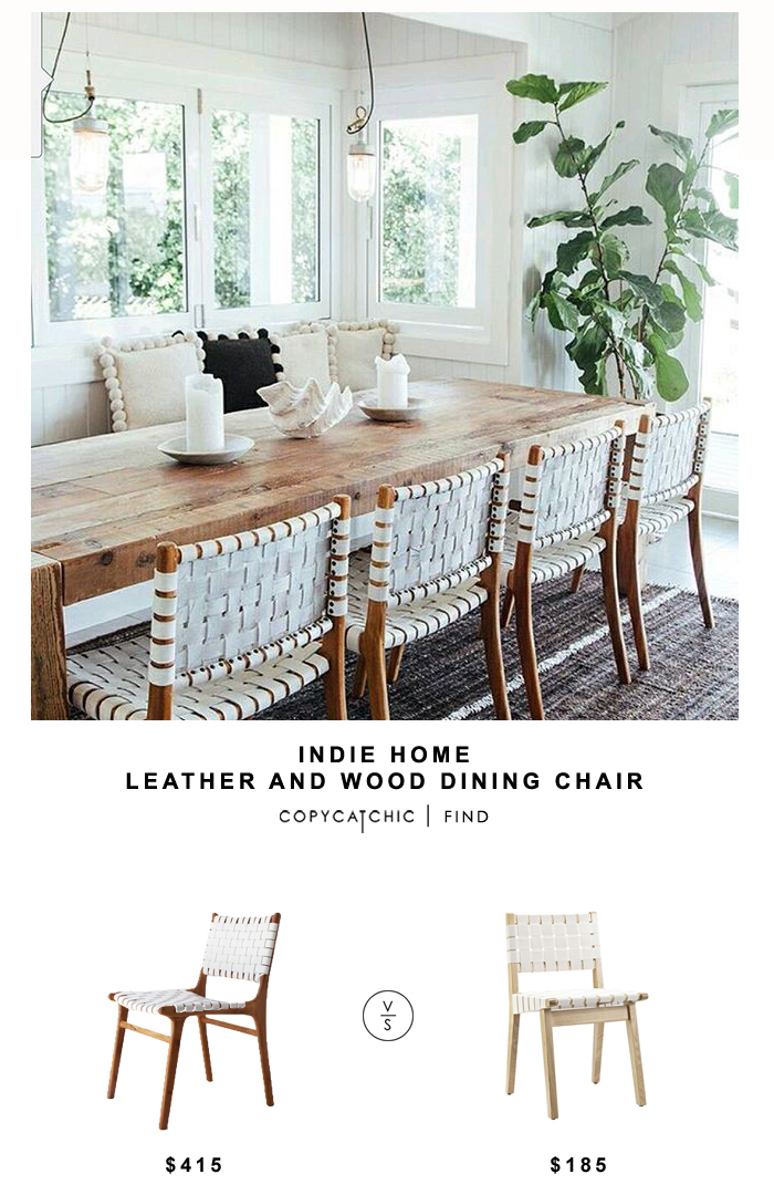 Brand-new Indie Home wood and leather dining chair - copycatchic UI43
