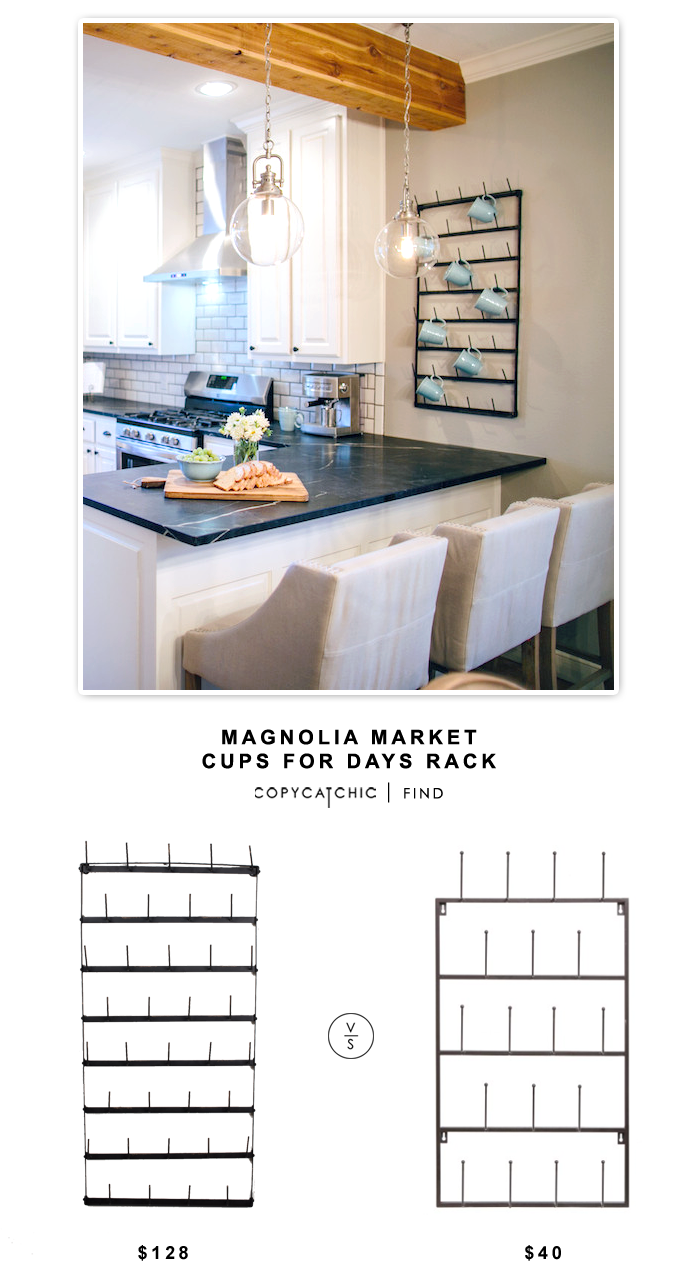 "Magnolia Market ""Cups for Days"" Rack for $128 vs Mygift 5Tier Metal Wall Rack for $40 