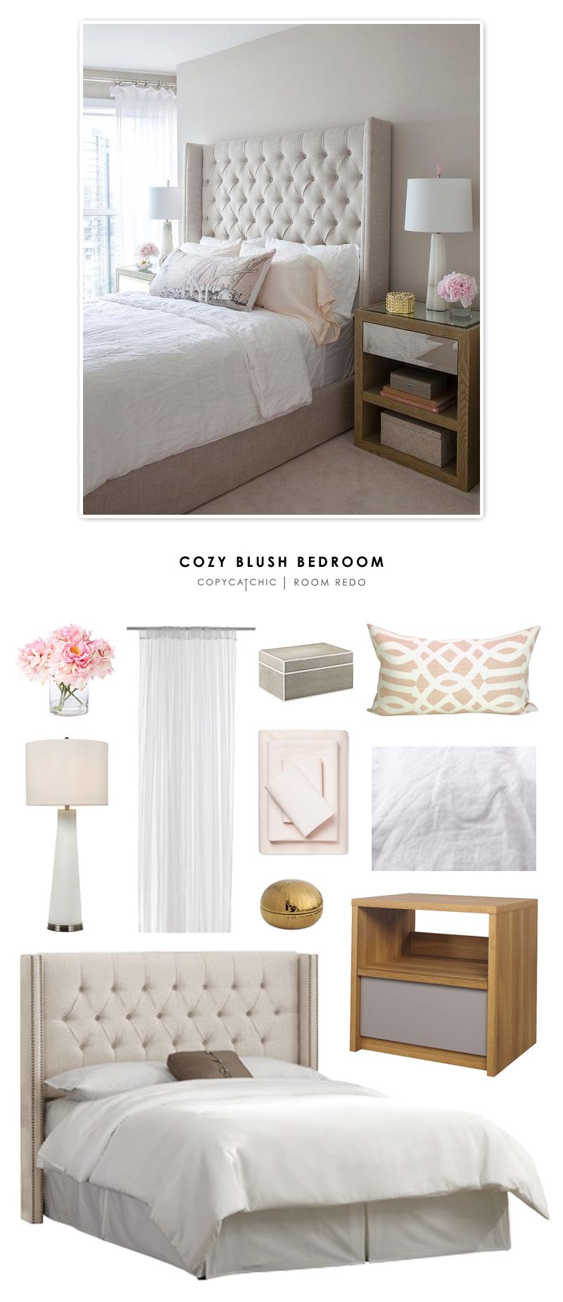 copy cat chic room redo cozy blush bedroom copycatchic. Black Bedroom Furniture Sets. Home Design Ideas