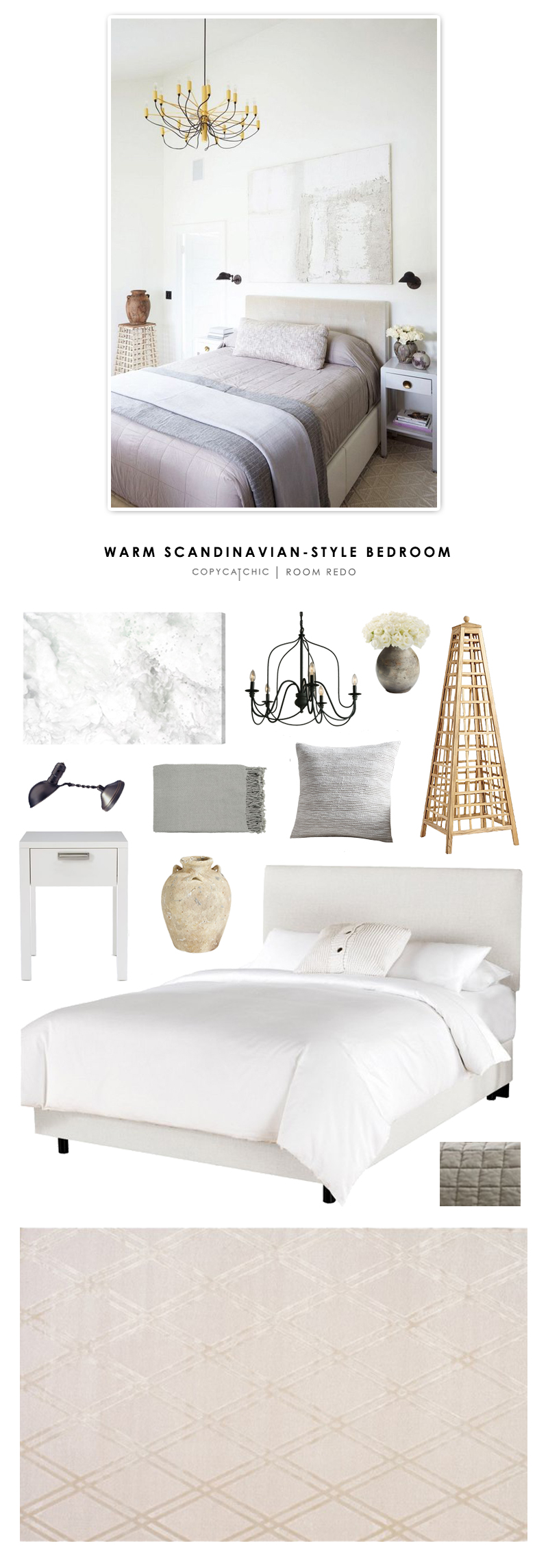 A warm Scandinavian contemporary bedroom featured in Lonny Magazine and recreated for less by @copycatchic | Room Redo looks for less budget home decor