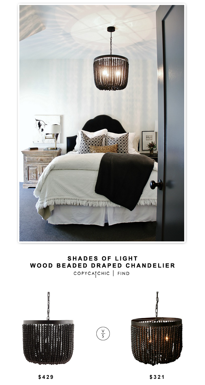 Shades of Light Wood Beaded Draped Chandelier for $429 vs Creative Co-Op Turn of the Century Wood Beads Chandelier for $321 |@copycatchic look for less