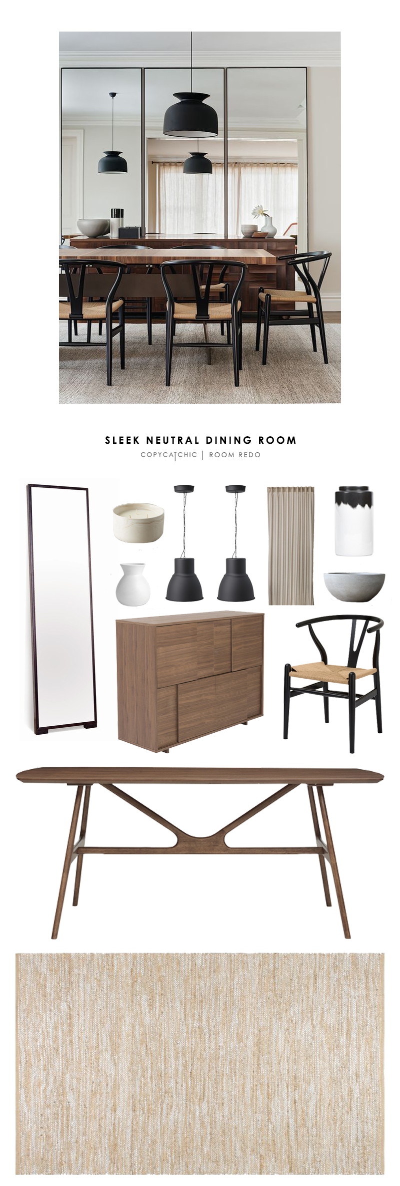 An amazing, sleek, neutral, midcentury modern, dining room designed by Arent & Pyke and recreated for Copy Cat Chic | look for less budget home decor
