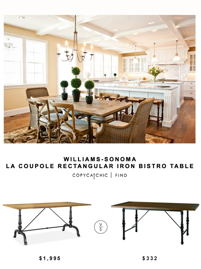 Williams Sonoma Home La Coupole Rectangular Iron Bistro Table for $1,995 vs Wood Haven Hill Millwod Dining Table for $332 | copycatchic look for less decor