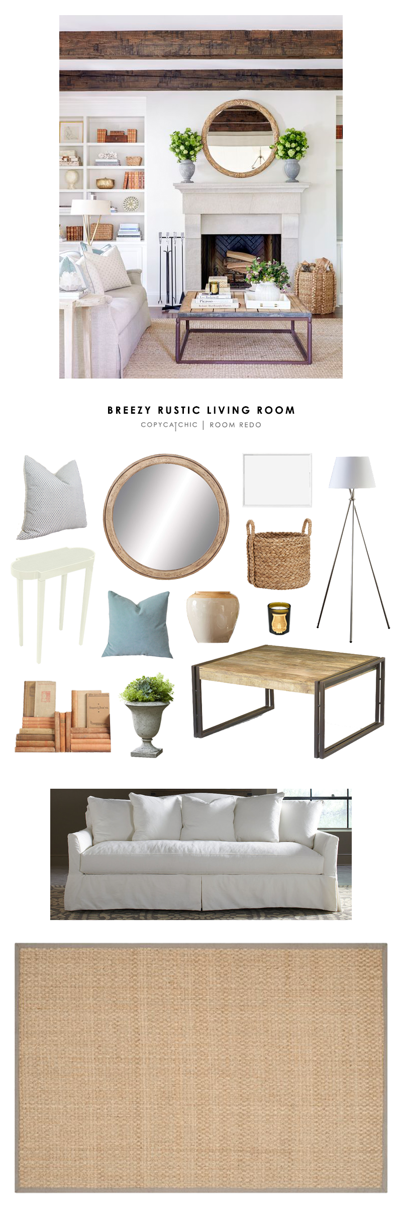 Copy Cat Chic Room Redo | Breezy Rustic Living Room - copycatchic