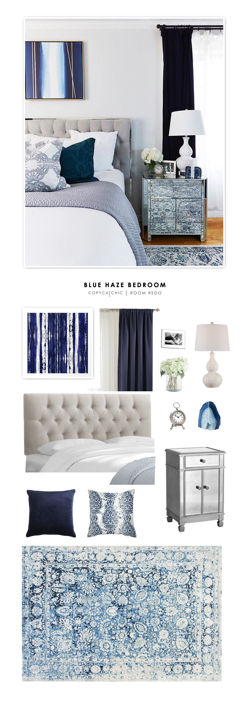 This sophisticated blue master bedroom by Margo & Me is recreated for less by @copycatchic | budget home decor looks for less and home design