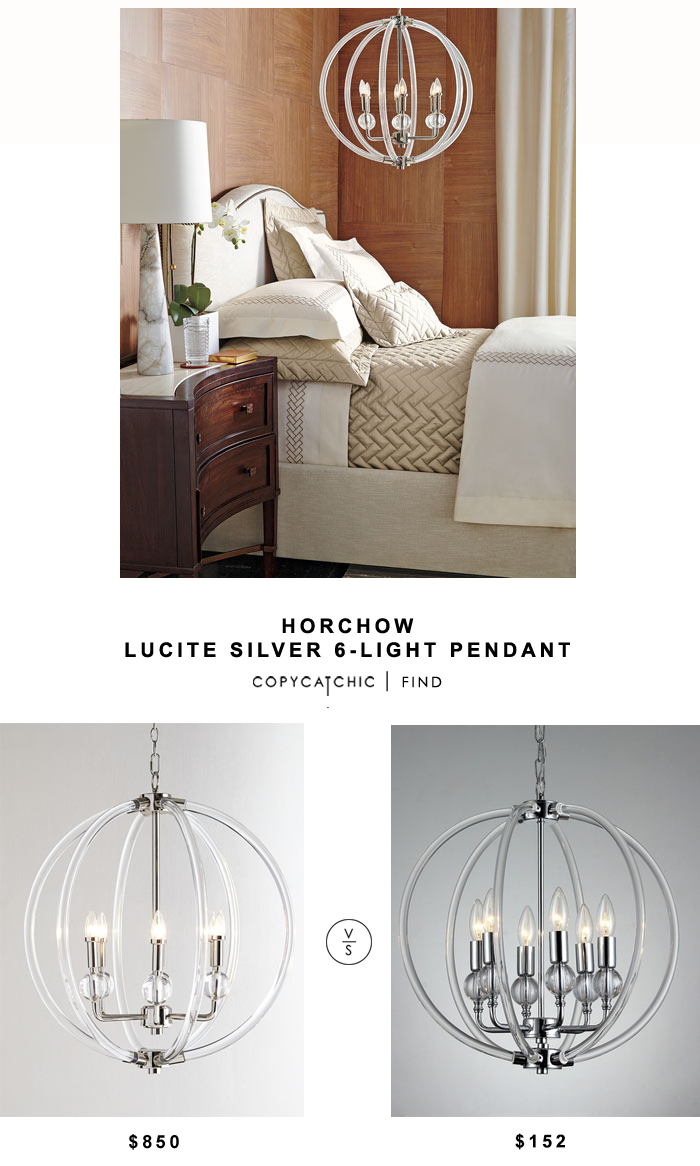 Horchow Silver Lucite 6-Light Pendant for $850 vs Overstock Gia 6-light Clear 18-inch Chrome-finish Chandelier for $152 | @copycatchic look for less decor