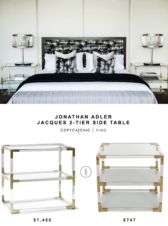 Jonathan Adler Jacques 2-Tier Side Table for $1450 vs Overstock Safavieh Couture Collection Louisa Bronze Brass End Table $747 | @copycatchic look for less