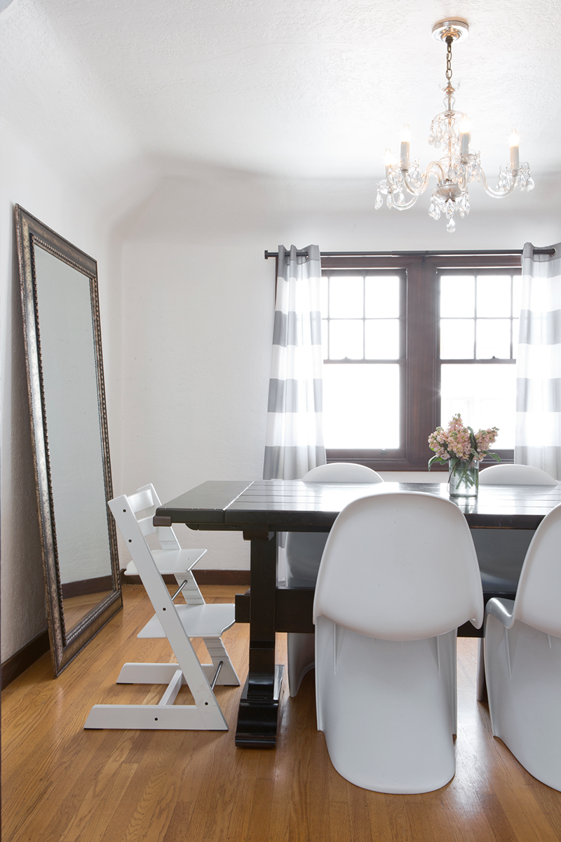 Copy Cat Chic | Updating my home with amazing deals on home decor from Kirkland's. Here's my dining room with Kirkland's floor mirror and curtains.
