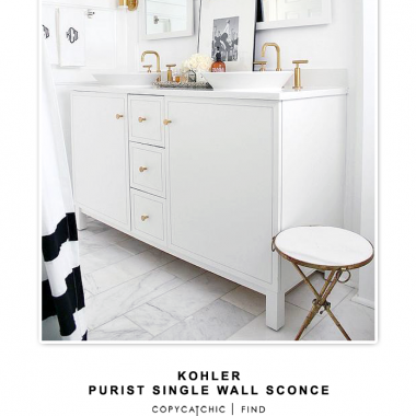 Kohler Purist Single Wall Sconce for $641 vs Lamps Plus George Kovacs Gold High Wall Sconce for $73 | @copycatchic look for less budget home decor & design