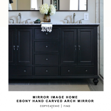 Mirror Image Home Ebony Hand Carved Arch Mirror