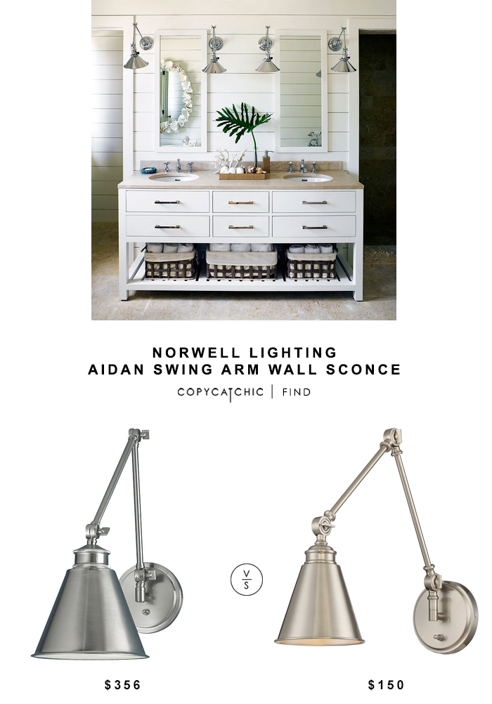 Norwell Lighting Aidan Swing Arm Wall Sconce for $356 vs Savoy House Morland Plished Nickel Sconce for $150 | @copycatchic look for less budget home decor