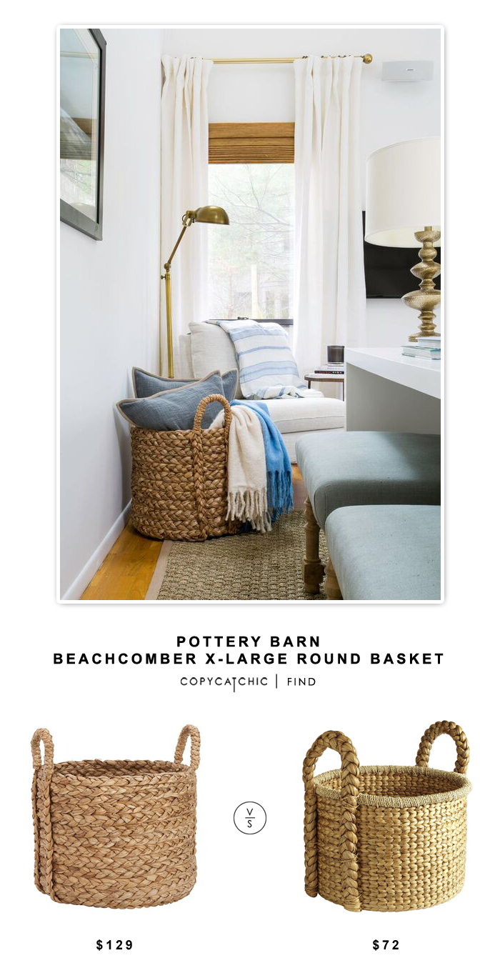 Pottery Barn Beachcomber Extra Large Round Basket for $129 vs Pier 1 Imports Carson Natural Wicker Round Large Basket for $72 | @copycatchic look for less